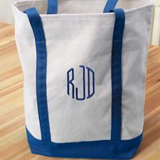 Bestickte Stofftasche Medium 3 Buchstaben Blau