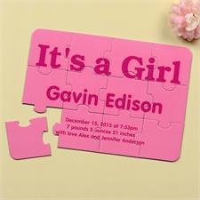 Es ist ein Mädchen Geburtsanzeige Puzzle Sechs Teile 12,7 x 17,8 cm Foto Text