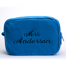 Blaue Bestickte Waffelmuster Kosmetikbag 15,7 x 22,9 cm