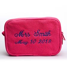 Pink Rote Bestickte Waffelmuster Kosmetikbag 15,7 x 22,9 cm