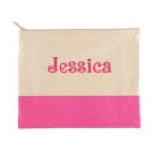 Besticktes Schminktäschchen Pink Name 19 x 23 cm
