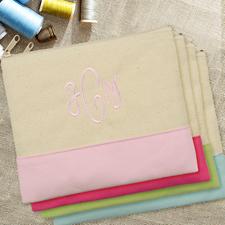 Pinke Personalisierte Kosmetiktasche Bestickt drei Buchtaben 19,1 x 22,9 cm
