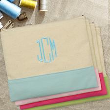 Hellblaue Personalisierte Kosmetiktasche Bestickt drei Buchtaben 19,1 x 22,9 cm