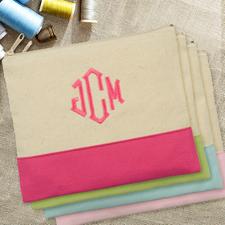 Hot Pink Personalisierte Kosmetiktasche Bestickt drei Buchtaben 19,1 x 22,9 cm