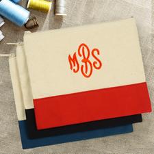 Rote Personalisierte Kosmetiktasche Bestickt drei Buchtaben 19,1 x 22,9 cm