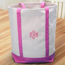 Bestickte Stofftasche Medium Pink