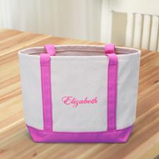 Bestickte Stofftasche klein Pink
