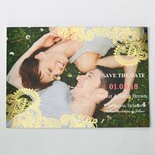 Strahlendes Glück Gold Save the Date Einladungskarte Gestalten 127x178