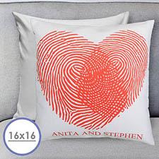 Fingerabdruck im Herzen Personalisierter Kissenbezug 40,6 x 40,6 cm