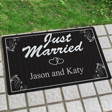 Just Married Frisch verheiratet Fußmatte Schmutzfangmatte Personalisieren 43x69cm