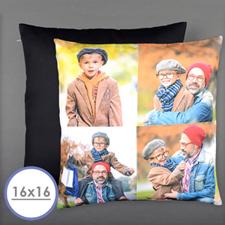 Collage vier Bilder Personalisierter Kissenbezug 40,6 x 40,6 cm