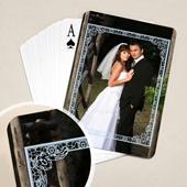 Hochzeitskartenspiel mit blauem Rahmen
