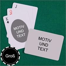 Große Spielkarten, Querformat, Standardschrift, Design oval
