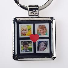 Schlüsselanhänger Collage Vier Fotos Schwarz Personalisieren