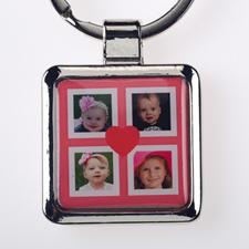 Schlüsselanhänger Collage Vier Fotos Rot Personalisieren