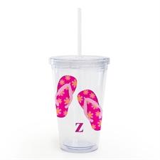 Doppelwand Acrylbecher Strandschuhe Pink Personalisieren Gestalten