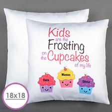 Drei Cupcakes Personalisierter Kissenbezug 45,7 x 45,7 cm