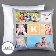 Collage 6 Fotos Personalisierter Kissenbezug Gelb 40,6 x 40,6 cm