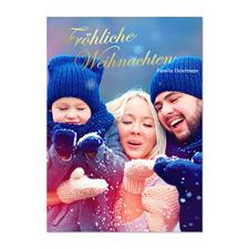 Frohe Weihnacht Gold Erhaben Geprägt Foto Weihnachtskarte 127x178