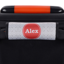 Griechisches Muster Grau Personalisierter Kofferanhänger