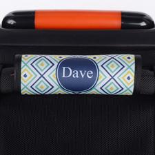 Ikat Pfauenblau Dunkelblau Personalisierter Kofferanhänger