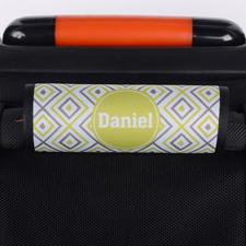 Ikat Grün Grau Personalisierter Kofferanhänger