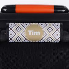 Ikat Braun Grau Personalisierter Kofferanhänger