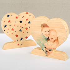 Bunte Sterne Alles Liebe Fotoherz aus Holz Personalisieren Geschenk