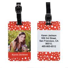 Weiße Punkte auf Rot Gepäckanhänger Aluminium Personalisieren