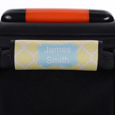 Vierpass Gelb Blauer Rahmen Personalisierter Kofferanhänger