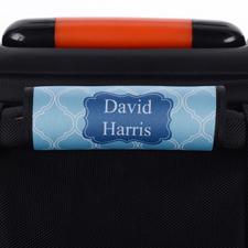 Vierpass Blau Dunkelblauer Rahmen Personalisierter Kofferanhänger