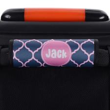 Dunkelblau und Pink Vierpass Personalisiertes Kofferschild