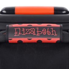 Punkte Schwarz Rot Personalisiertes Kofferschild