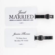 Frisch verheiratet Gepäckanhänger Aluminium Selbst Gestalten mit Foto Weiß