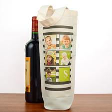 Fotocollage Weintasche Personalisieren mit schwarzen Streifen