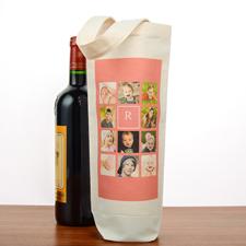 Foto Collage Pink Personalisierte Weintasche Baumwolle