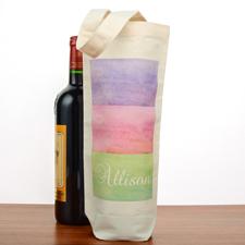 Streifen Wasserfarben Weinflaschentasche Personalisieren