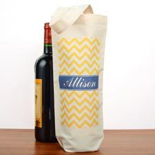 Gelbes Zickzackmuster Weintaschen Personalisieren