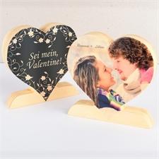 Sei mein Valentine Fotoherz aus Holz Personalisieren
