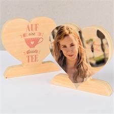 Auf eine Tasse Tee Fotoherz aus Holz Personalisieren Valentinsgeschenk