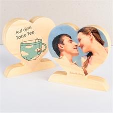 Auf eine Tasse Tee oder zwei Fotoherz aus Holz Personalisieren