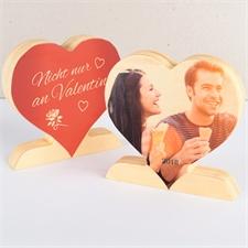 Valentinstag Fotoherz aus Holz Personalisieren Happy Valentine 's