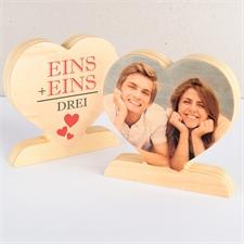 Eins + eins = Drei Fotoherz aus Holz Personalisieren Familie
