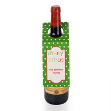 Weiße Punkte auf grünem Grund  Personalisierte Weinflasche Tag Sechs Stück