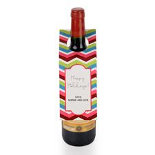 Bunte Wellen Personalisierte Weinflasche Tag Sechs Stück