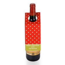 Weiße Punkte Roter Grund Personalisierte Weinflasche Tag Sechs Stück