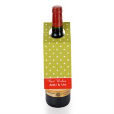 Weiße Punkte Grüner Grund Personalisierte Weinflasche Tag Sechs Stück