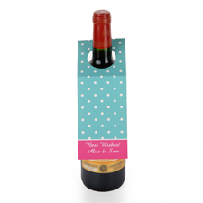 Weiße Punkte Blauer Grund Personalisierte Weinflasche Tag Sechs Stück