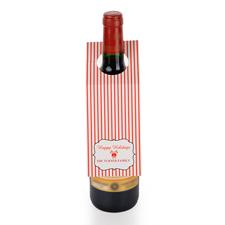 Rote Streifen Personalisierte Weinflasche Tag Sechs Stück