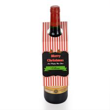 Rote Streifen Personalisierte Weinflasche Tag